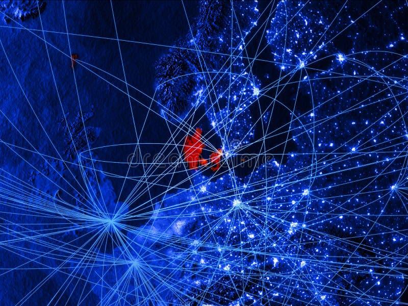 Denemarken op blauwe digitale kaart met netwerken Concept internationale reis, mededeling en technologie 3D Illustratie vector illustratie