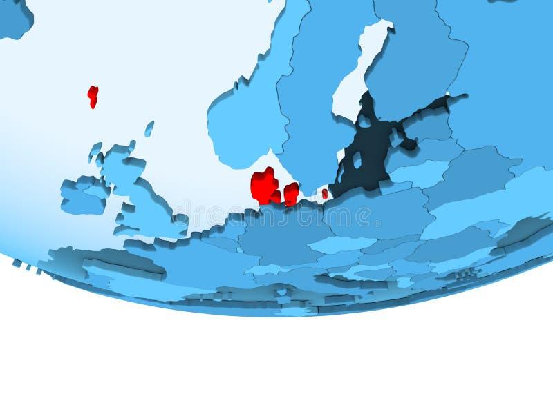Denemarken in rood op blauwe kaart royalty-vrije illustratie
