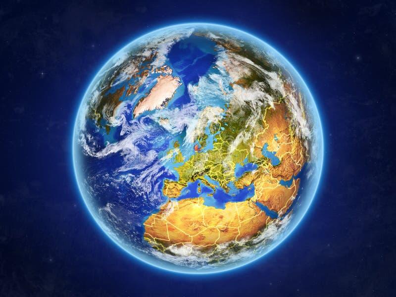 Denemarken ter wereld van ruimte vector illustratie