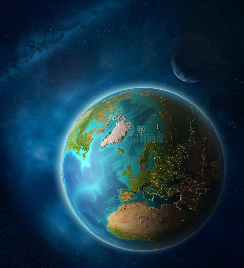 Denemarken ter wereld van ruimte stock illustratie