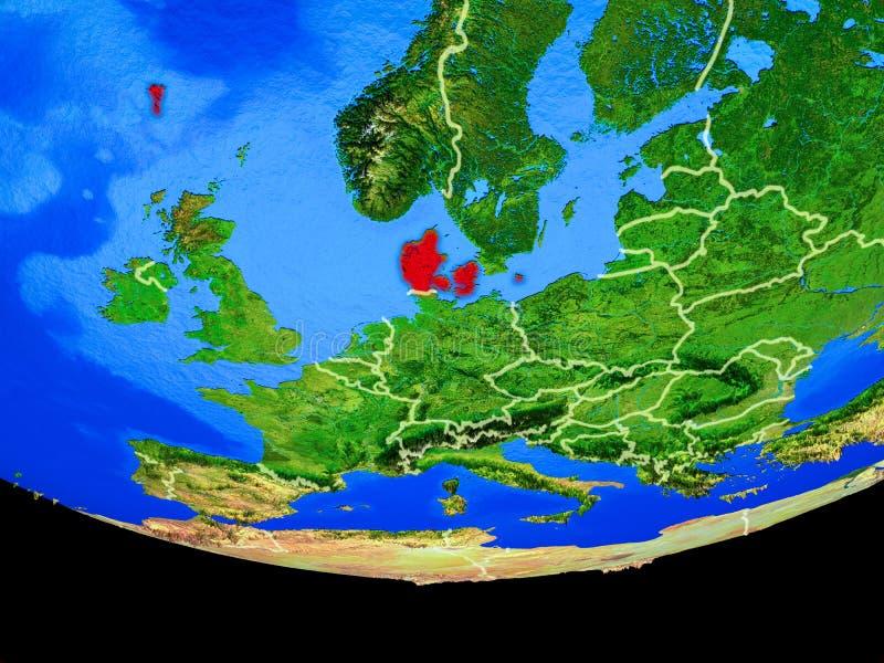 Denemarken van ruimte ter wereld royalty-vrije illustratie
