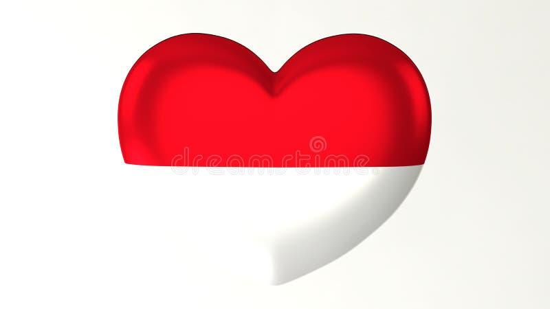 denformade illustrationen för flaggan 3D älskar jag Monaco royaltyfri illustrationer