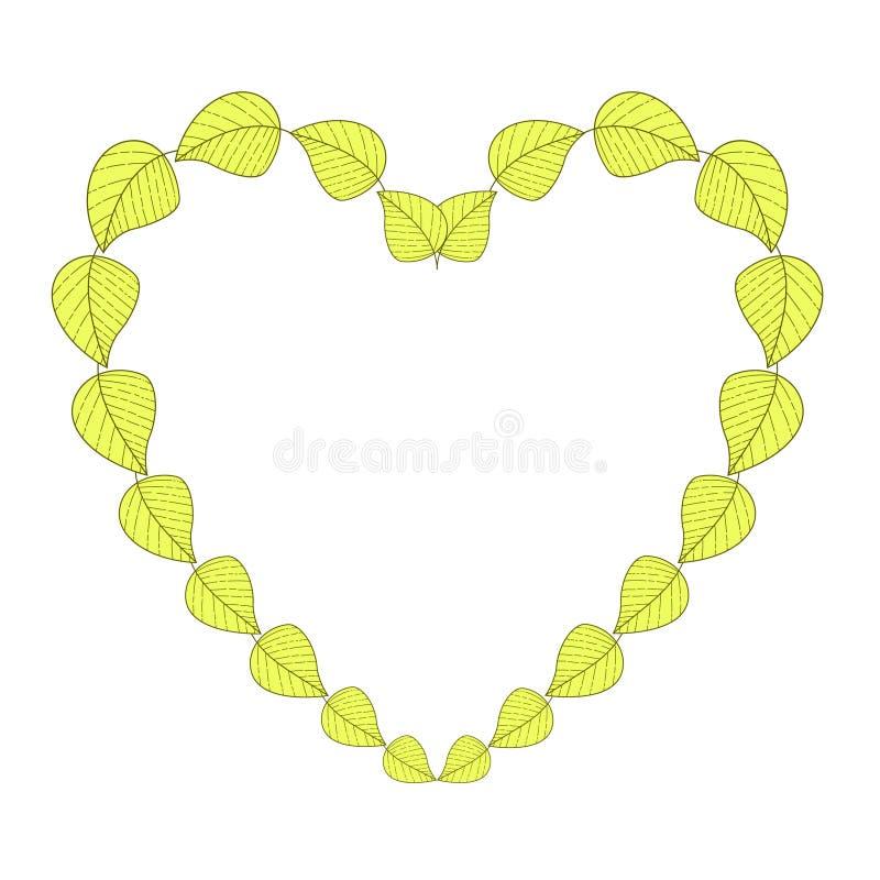denformade ramen av den drog gula och gröna handen lämnar vektor illustrationer