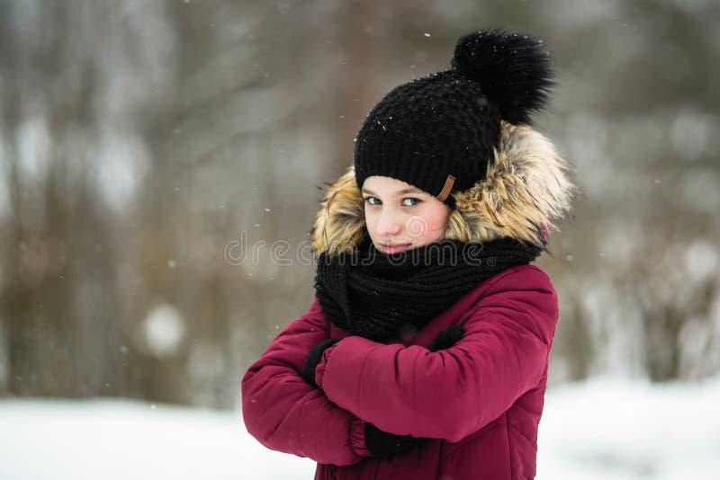 dengamla flickan tycker om utomhus- i vinter arkivfoto