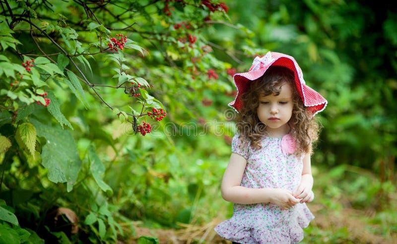 dengamla lockiga flickan i röd hatt som går i sommar, parkerar royaltyfria foton
