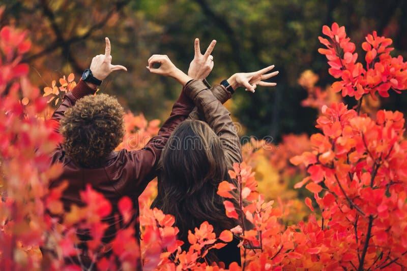 denhaired mannen och kvinnan står med deras baksidor bland röda höstbuskar och visar gester med deras händer royaltyfri foto