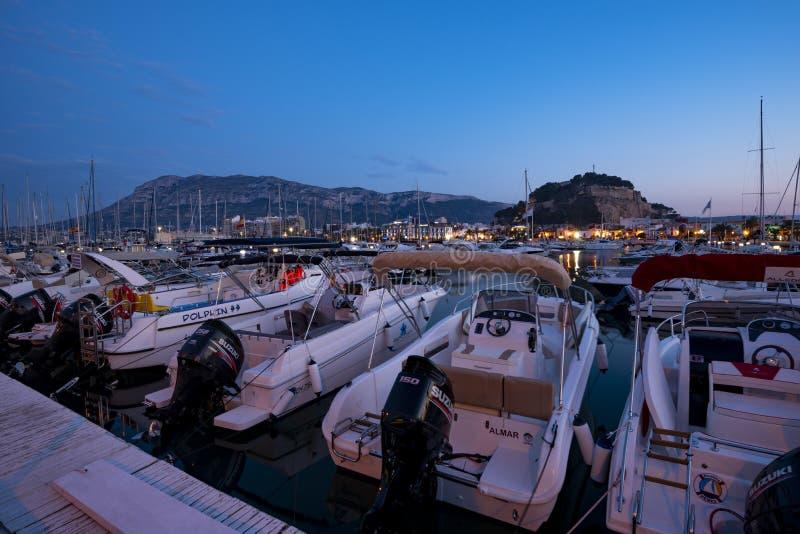 Denia-Hafen, Alicante, Spanien stockbilder