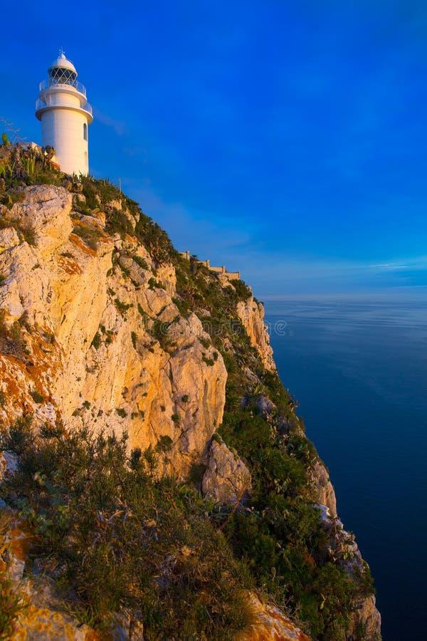 Denia Javea San Antonio przylądka Śródziemnomorska latarnia morska obraz royalty free