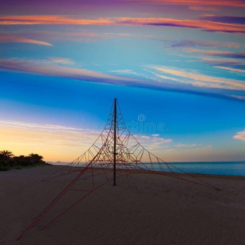 Denia las小游艇船坞靠岸在日落在阿利坎特西班牙 免版税图库摄影