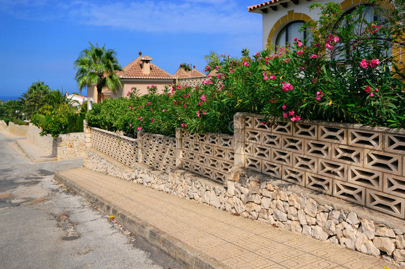 Denia street. View of the buildings and streets of the Spanish resort town of Denia stock photos