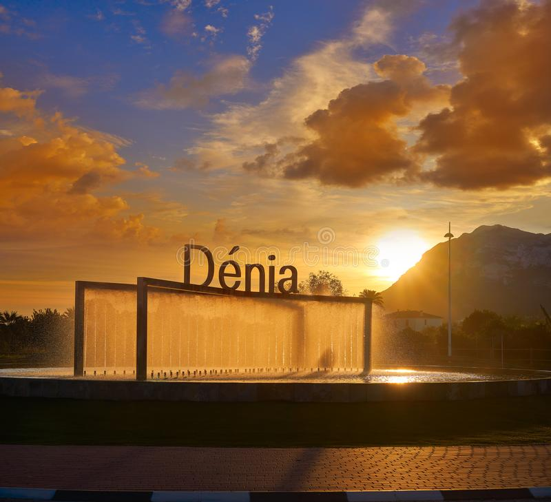 Denia welcome sign at sunrise in Alicante stock photography
