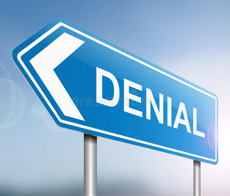 Denial concept. Illustration depicting a sign with a denial concept stock illustration