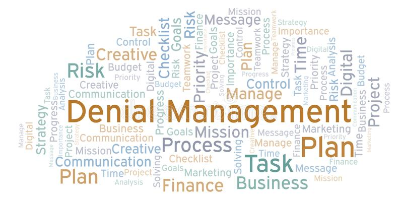 Denial Management word cloud, made with text only. Denial Management word cloud, made with text only vector illustration