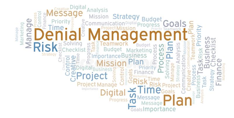 Denial Management word cloud, made with text only. Denial Management word cloud, made with text only royalty free illustration