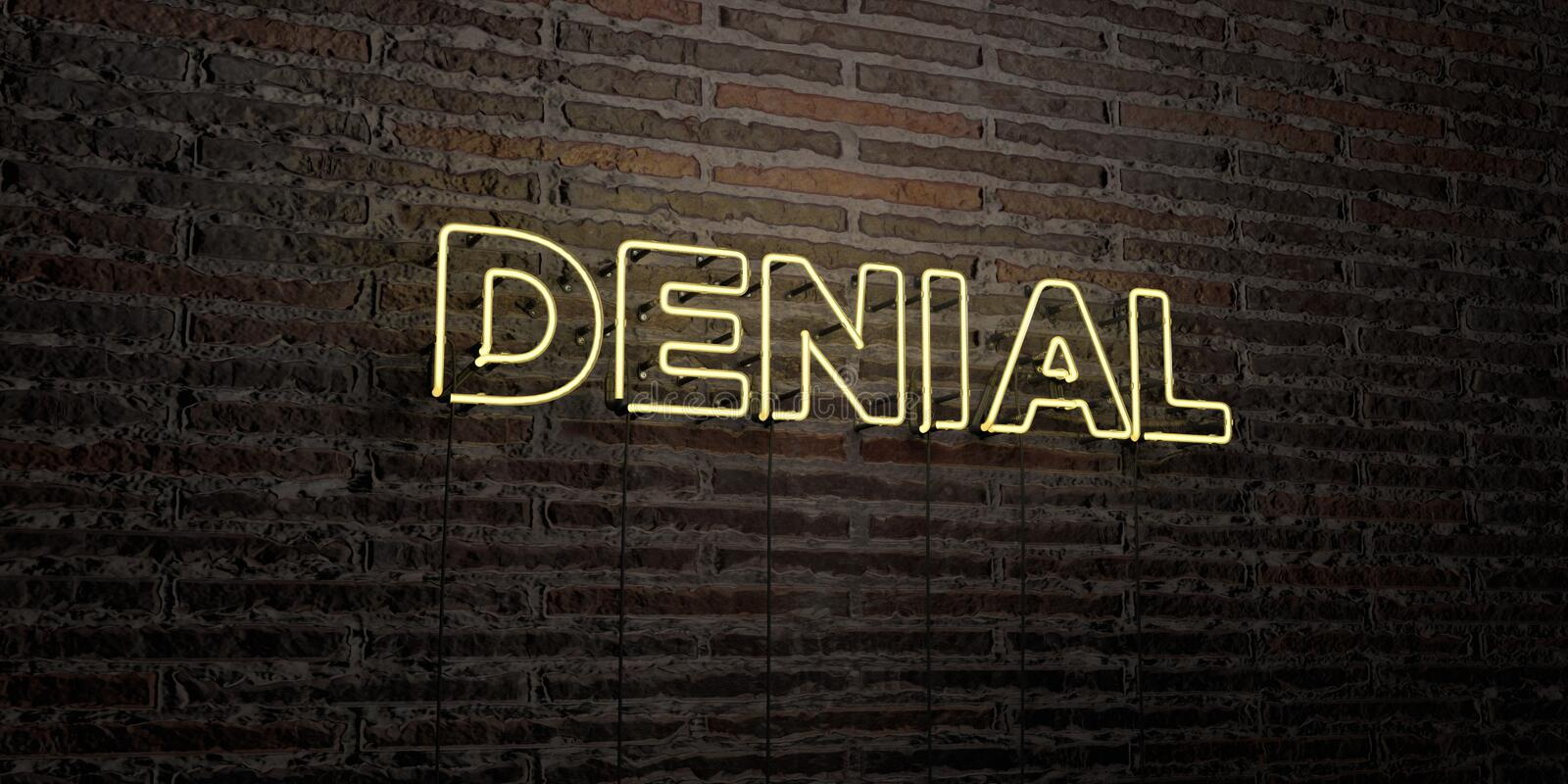 DENIAL -Realistic Neon Sign on Brick Wall background - 3D rendered royalty free stock image. Can be used for online banner ads and direct mailers royalty free illustration