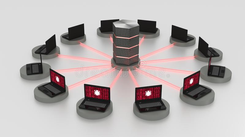Denial of service attack on centralized server. Twelve laptops arranged in a circle around a hexagon server with glowing red fiber connections denial of service royalty free illustration