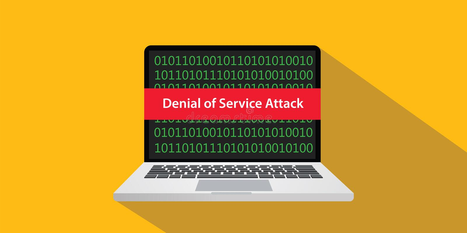 Denial of service attack dos concept illustration with laptop comuputer and text banner on screen with flat style and. Long shadow vector stock illustration
