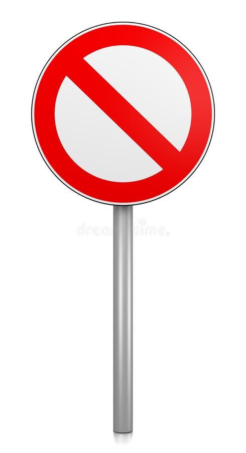 Denied Road Sign. On White Background 3D Illustration stock illustration