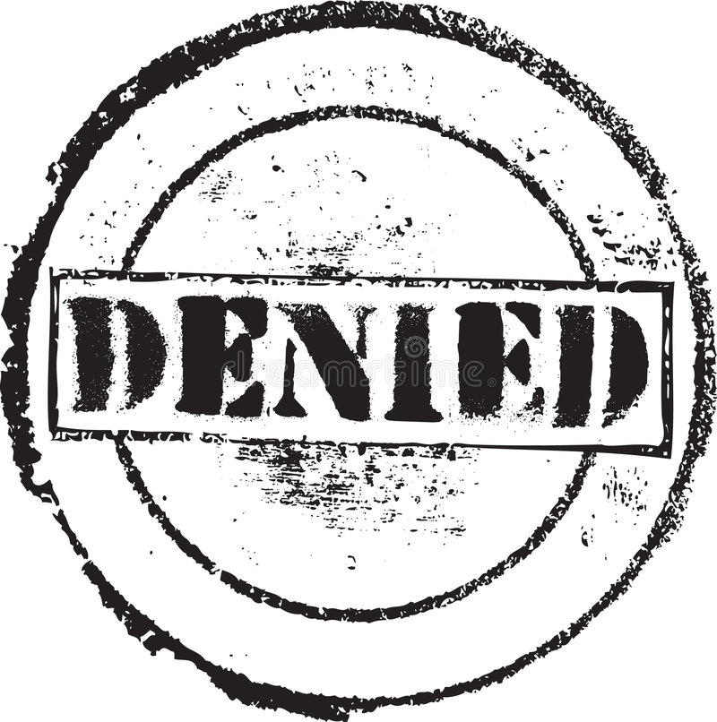 Denied skamp. Abstract grunge rubber stamp with the text denied stock illustration