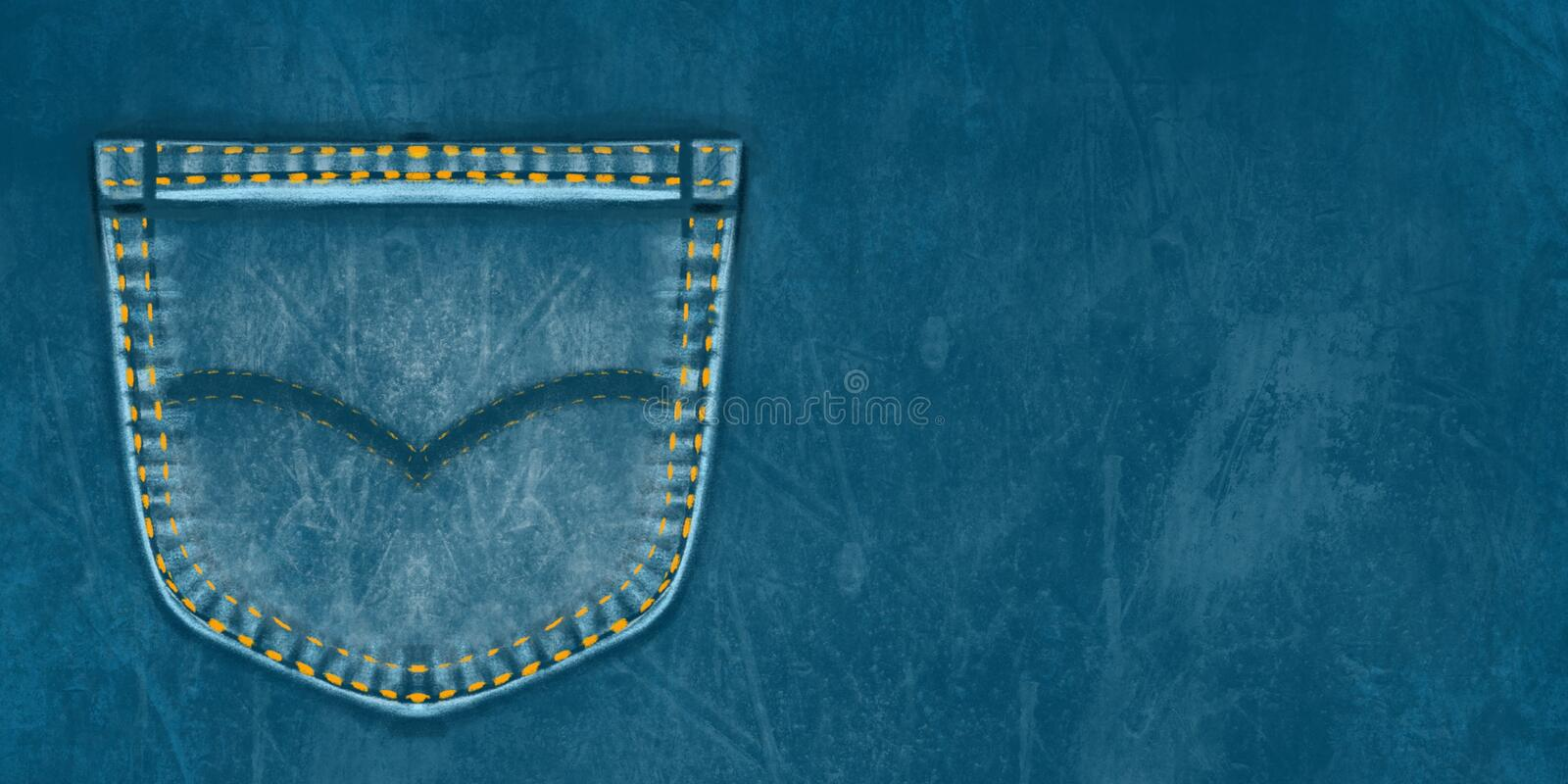 Denim background with a pocket. Denim pocket with place for text. Shabby jeans. stock illustration