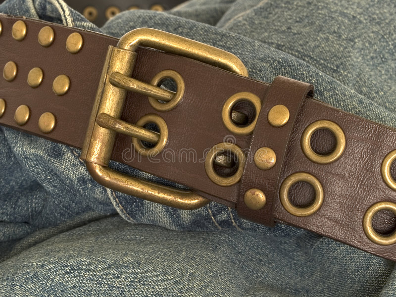 Denim and belt 1 stock photos