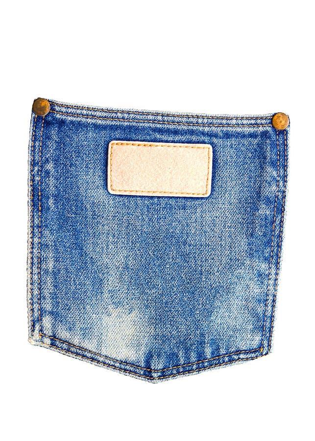 Denim blue jean pocket texture is the classic indigo fashion. De. Nim blue jeans pocket isolated on white background stock image