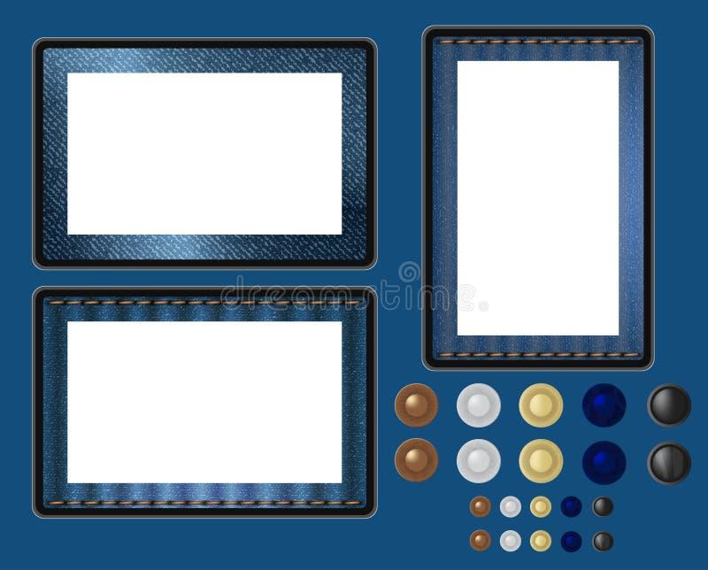 Denim Blue Jeans Fabric Texture Frame Tablet PC stock illustration