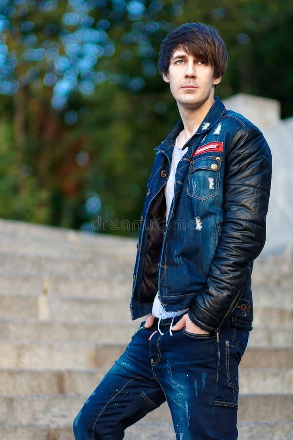 Denim, Blue, Jeans, Jacket royalty free stock photography