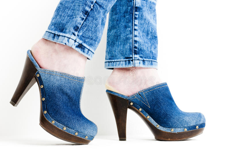 Download Denim clogs stock image. Image of detail, standing, style - 27009309
