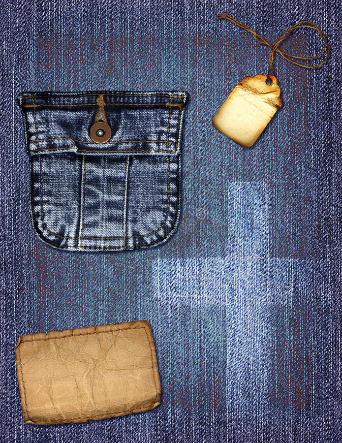 Denim Collage. A vintage denim collage with a pocket royalty free stock photos