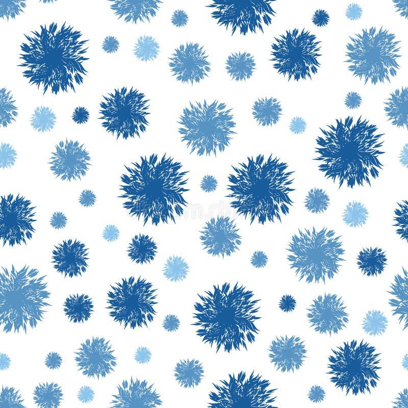 Denim Dots Circles Seamless Pattern Background strutturato blu di vettore Perfezioni per la scuola materna, il compleanno, il cir illustrazione vettoriale