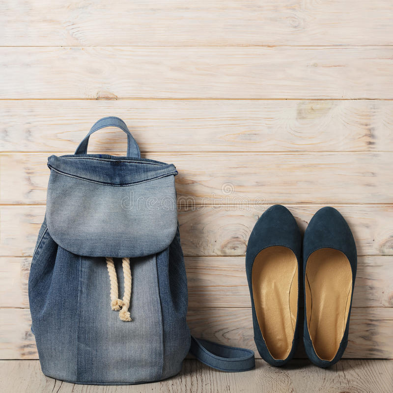 Denim fashion set - clothes, shoes and accessories. royalty free stock photos