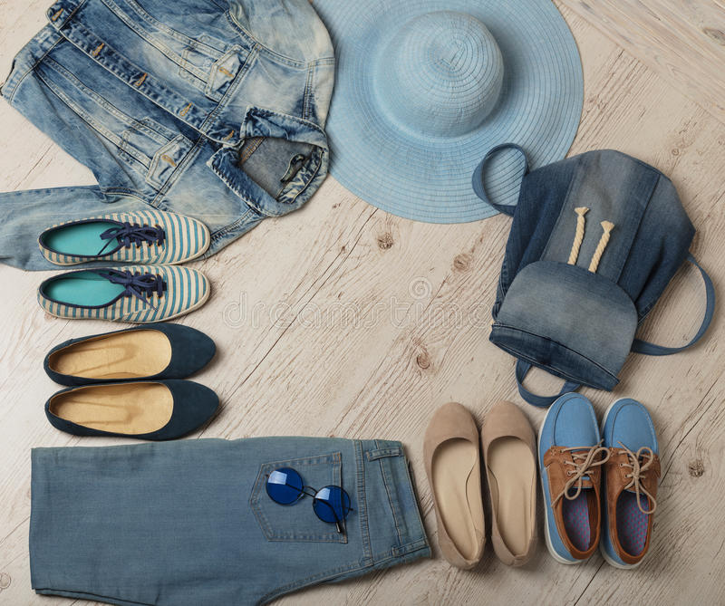 Denim fashion set - clothes, shoes and accessories. Selective focus stock photography