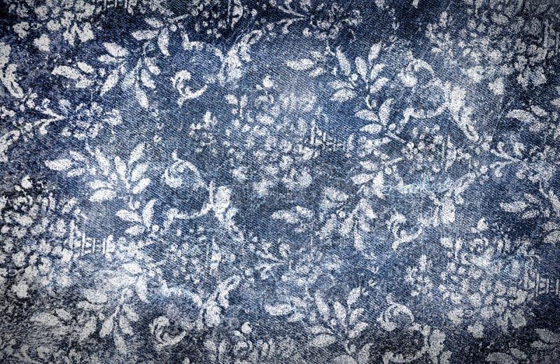Denim Grungy con effetto floreale sbiadetto illustrazione di stock
