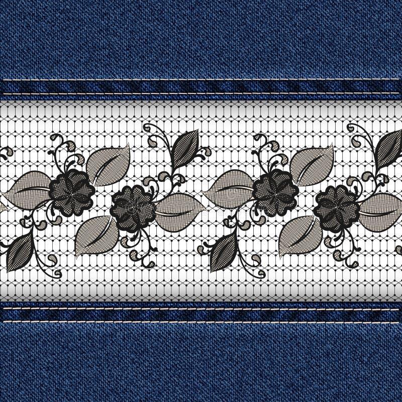 Denim horizontal background with black lace ribbon. vector illustration