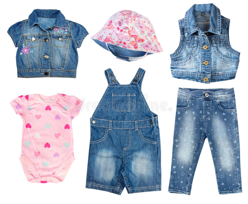Denim jean baby toddler summer clothes set isolated. Fashion denim baby clothes set.Child girl collage clothing.Kids wear.Jeans,overall,hat,vest,bodysuit stock images
