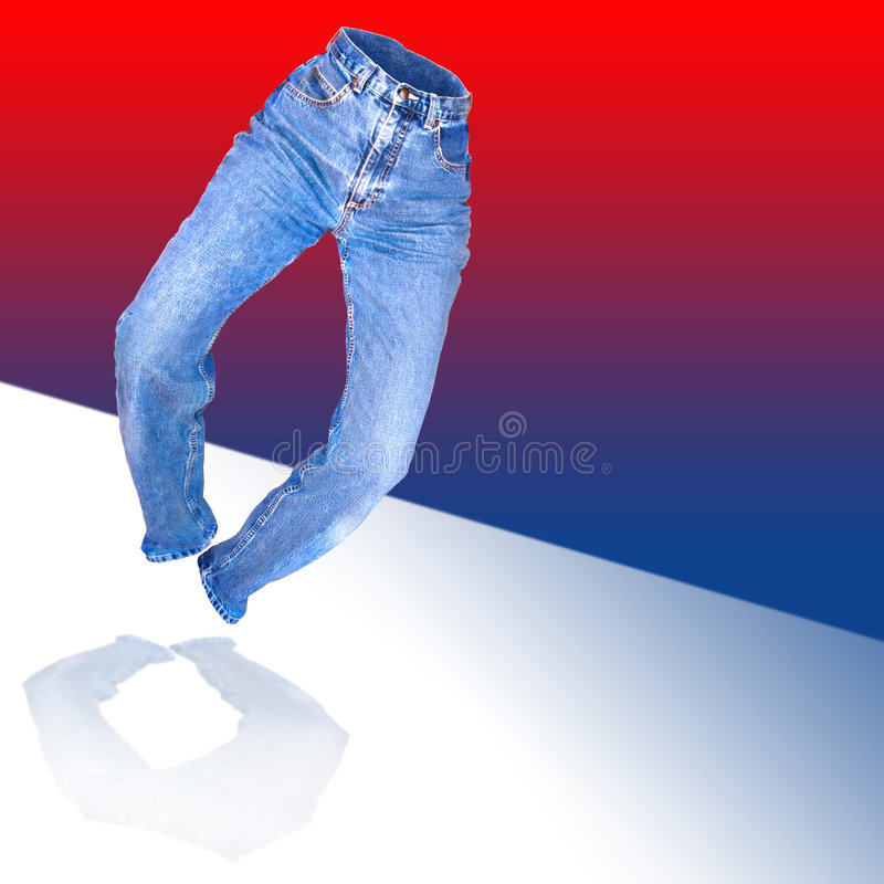 Denim jeans. A heel clicking womens form fitted worn denim jeans over a red white and blue background stock photography