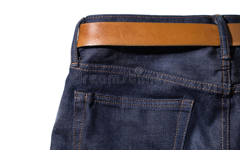 Denim jeans with belt on white isolated background royalty free stock photo