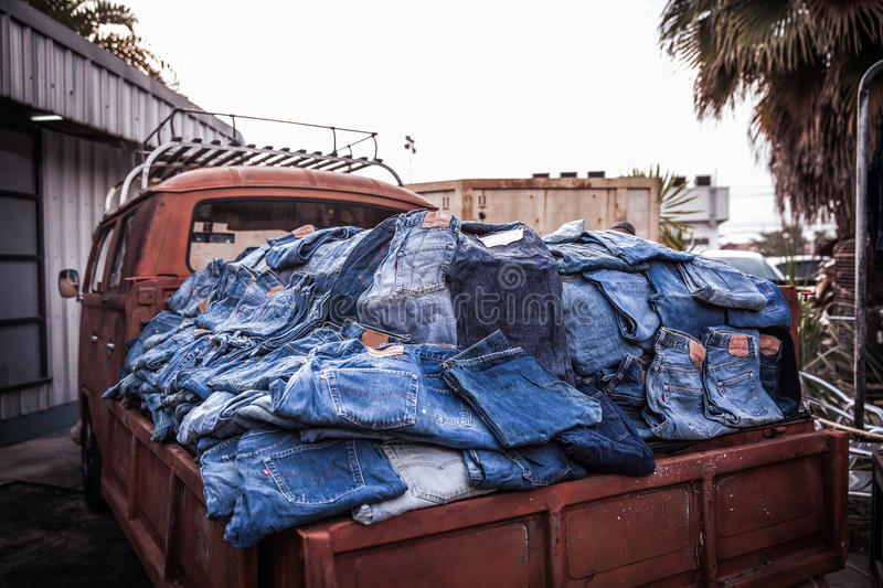 The denim jeans in truck royalty free stock photography