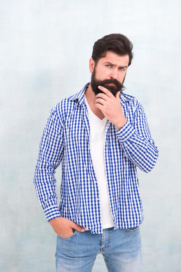 Denim look. Male casual fashion style. barber care for real men. brutal hipster with mustache. Mature hipster with beard royalty free stock image