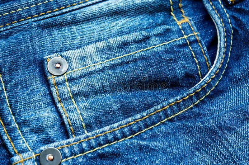 Denim pocket. Detail of a front pocket in a blue jeans pants stock image