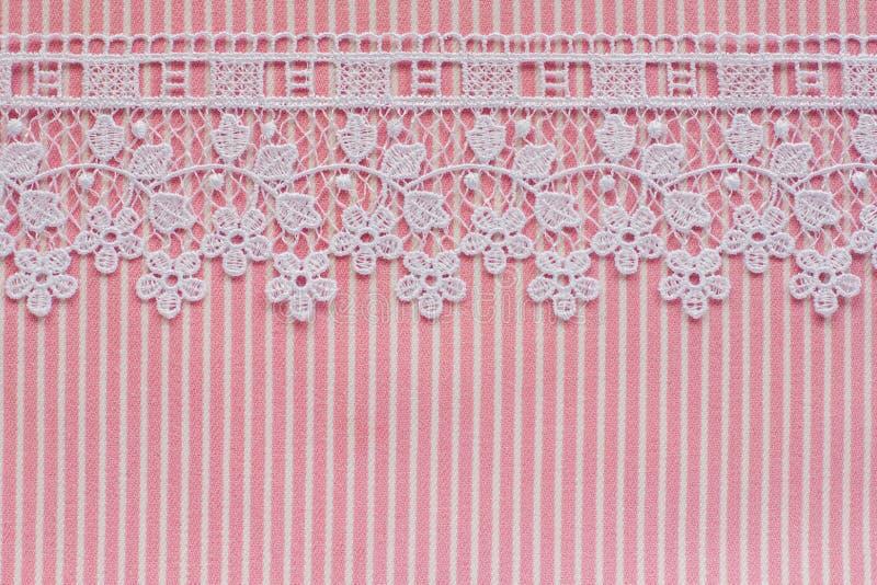Denim rose et blanc avec la dentelle photos stock