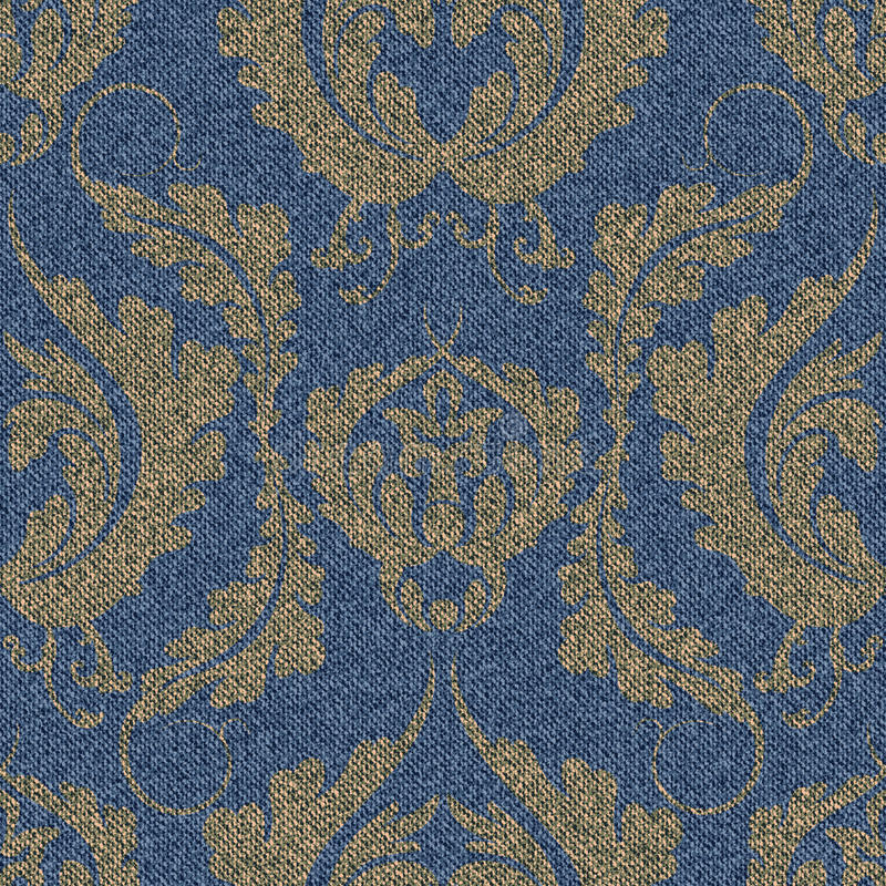Denim seamless pattern with a gold Damascus print. Blue background with a large floral ornament. stock illustration