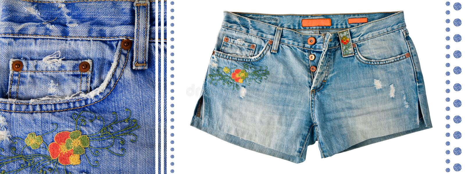 Download Denim Shorts stock image. Image of embroidery, textile - 20923411