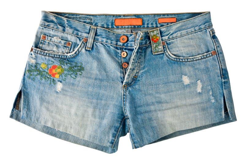 Denim Shorts. Isolated On White stock image