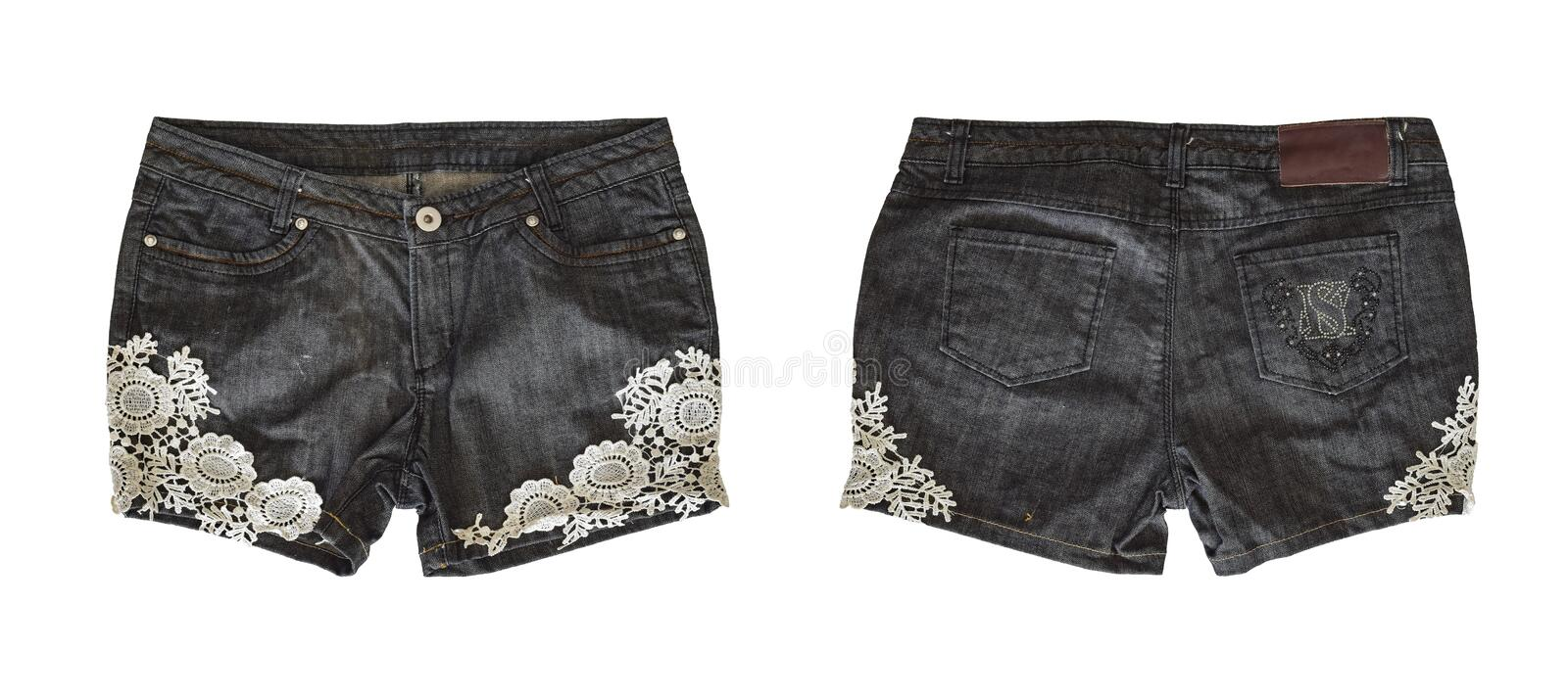 Denim shorts for female stock images
