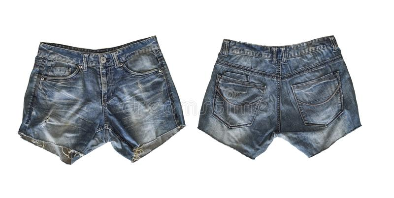Denim shorts for female isolated on white royalty free stock photography