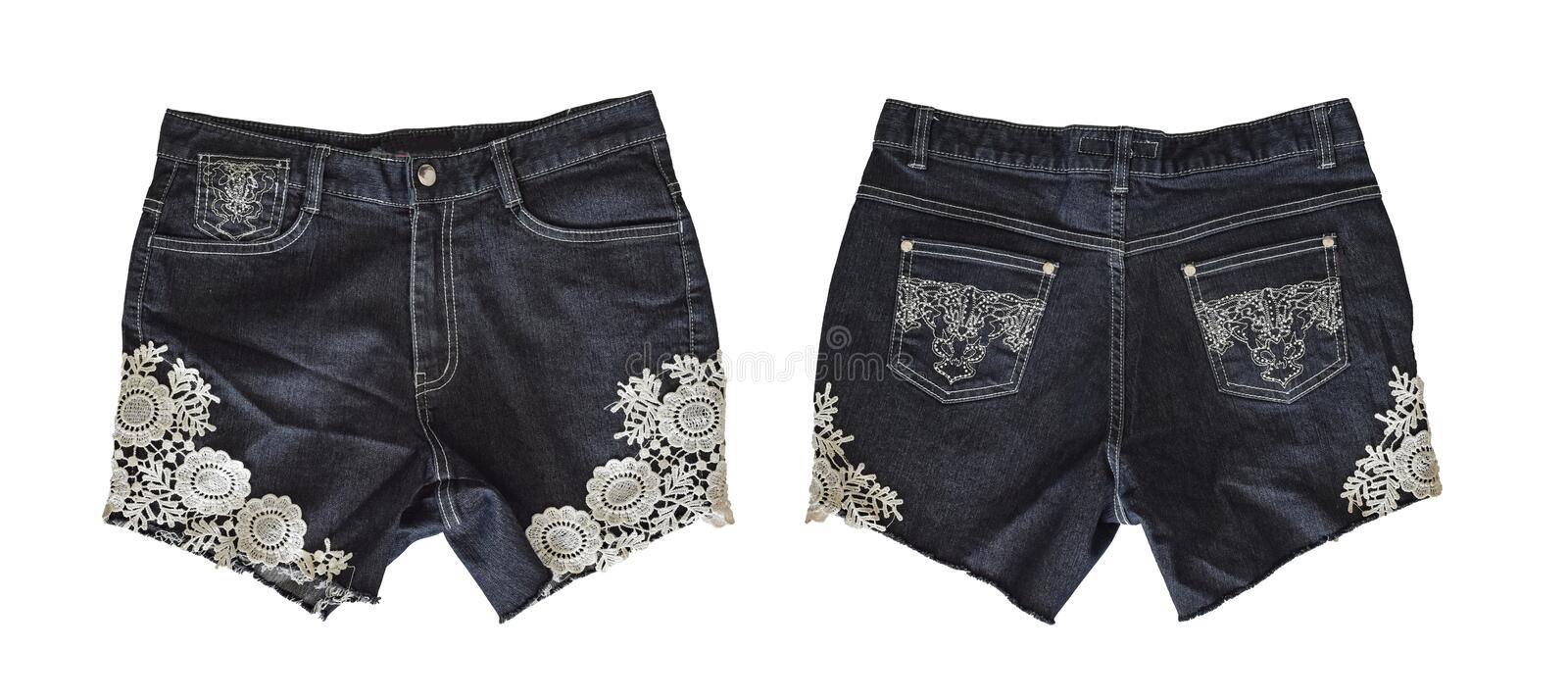 Denim shorts for female royalty free stock images