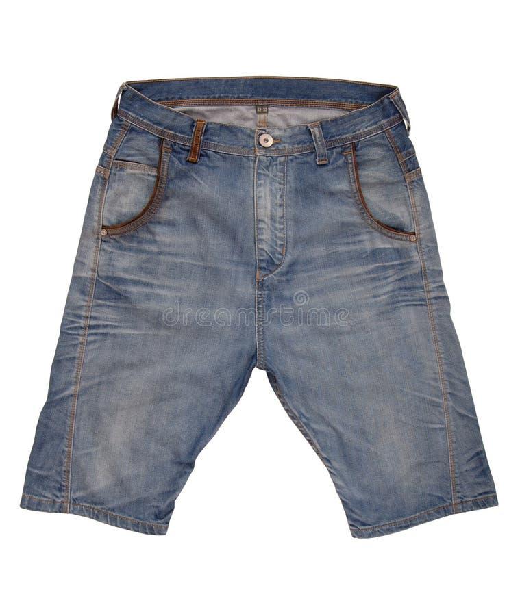 Denim shorts. Are on white background royalty free stock photos