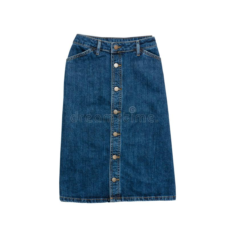 Denim skirt. Fashionable concept. Isolated. White background.  royalty free stock images